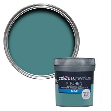 Colours Kitchen Barbados Blue Matt Emulsion Paint 0.05L Tester Pot