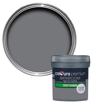 Colours Bathroom Grey Slate Soft Sheen Emulsion Paint 50ml Tester Pot