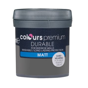 Colours Durable Asphalt Matt Emulsion Paint 50ml Tester Pot
