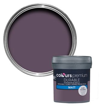 Colours Durable Blackcurrant Matt Emulsion Paint 50ml Tester Pot