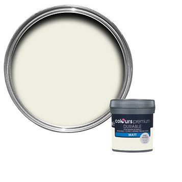 Colours Durable Antique White Matt Emulsion Paint 50ml Tester Pot