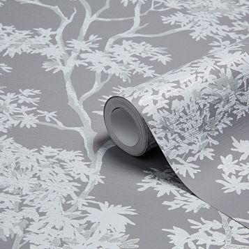 Charcoal Maple Tree Mica Wallpaper