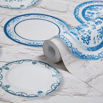 Blue Wall Plates Wallpaper