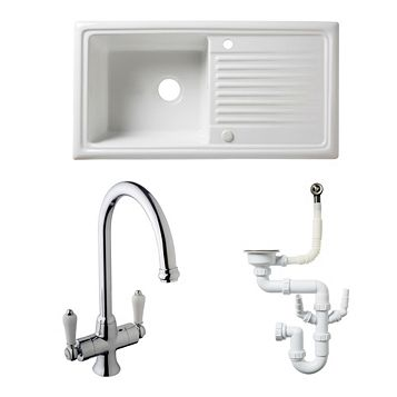 Cooke & Lewis 1 Bowl Ceramic Sink, Tap & Waste Kit