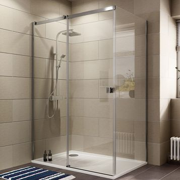 Cooke & Lewis Luxuriant Rectangular Shower Enclosure with Single Sliding Door (W)1400mm (D)900mm