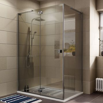 Cooke & Lewis Luxuriant Rectangular Shower Enclosure with Hinged Door & Semi-Mirrored Glass (W)1400mm (D)900mm