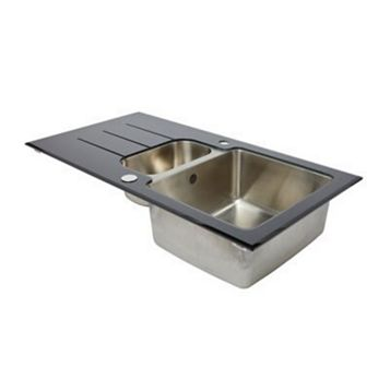 Cooke & Lewis Lamarck 1.5 Bowl Stainless Steel & Toughened Glass Sink & Drainer