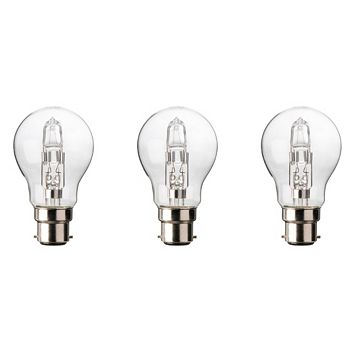 Diall Bayonet Cap (B22) 30W Halogen Classic Light Bulb, Pack of 3