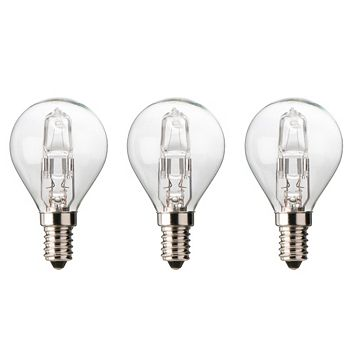Diall Small Edison Screw Cap (E14) 30W Halogen Ball Light Bulb, Pack of 3