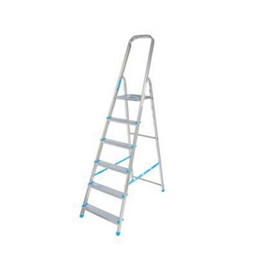 Mac Allister 6 Tread Aluminium & Steel Tread Stepladder, 2940mm