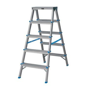 Mac Allister 10 Tread Aluminium Double Step Ladder, 1180mm