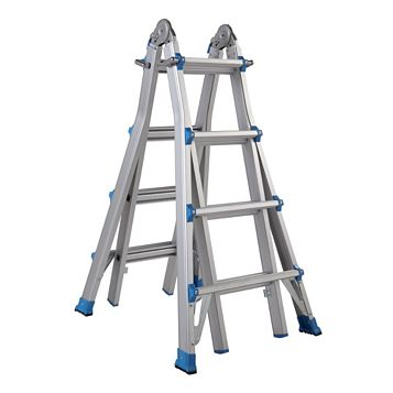 Mac Allister Aluminium-Way Multi-Use Telescopic Ladder, (H)4.90M