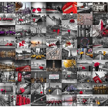 Black, Red & White City 64 Piece Wallpaper Collage