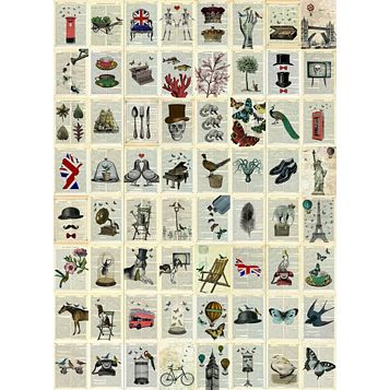 Encyclopedia & Dictionary 64 Piece Wallpaper Collage