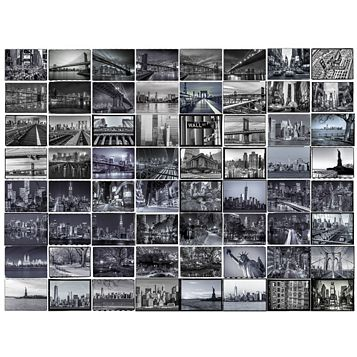 Black & Grey New York City 64 Piece Wallpaper Collage