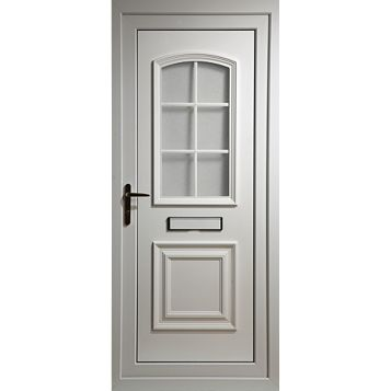 Georgian White PVCu Glazed External Front Door & Frame Lh, (H)2055mm (W)920mm