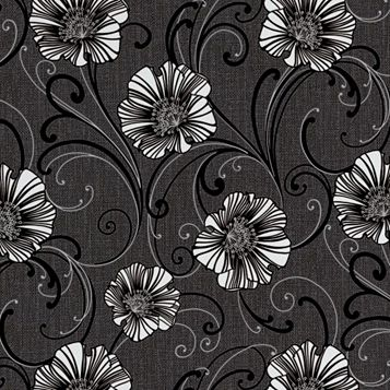 Liberty Floral Dark Grey & White Wallpaper