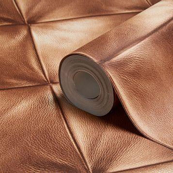 Move Your Wall Brown Leather Effect Wallpaper