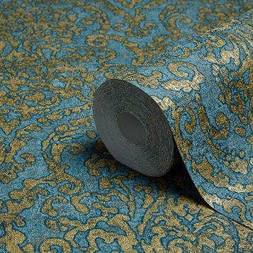 Bohemian Burlesque Petrol Blue & Gold Damask Metallic Wallpaper