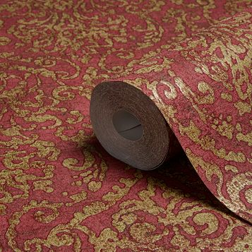 Bohemian Burlesque Red & Gold Damask Metallic Wallpaper