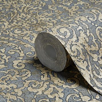 Bohemian Burlesque Slate & Gold Damask Metallic Wallpaper