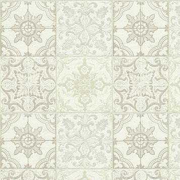 Chatsworth Beige, Cream & White Mosaic Tile Wallpaper