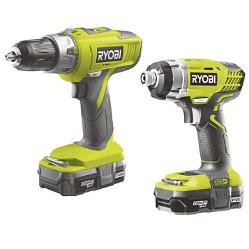 Ryobi One+ Li-Ion Combi Drill & Impact Driver Twin Pack Batteries Included R18CK2A-LL13F