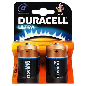 Duracell Ultra D Alkaline Battery, Pack of 2