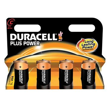 Duracell Plus C Alkaline Battery, Pack of 4