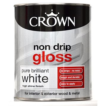 Crown Non Drip Interior & Exterior Pure Brilliant White Gloss Paint 750ml