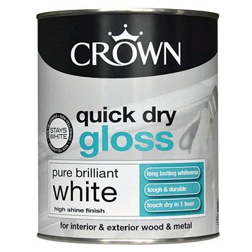 Crown Quick Dry Interior & Exterior Pure Brilliant White Gloss Paint 750ml