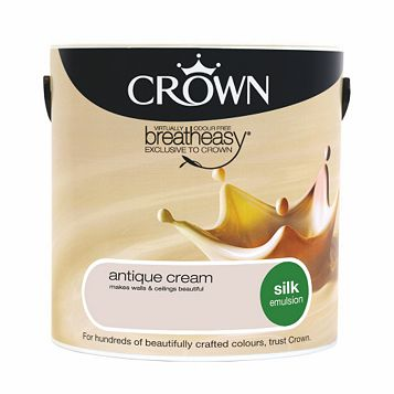 Crown Breatheasy Antique Cream Silk Emulsion Paint 2.5L