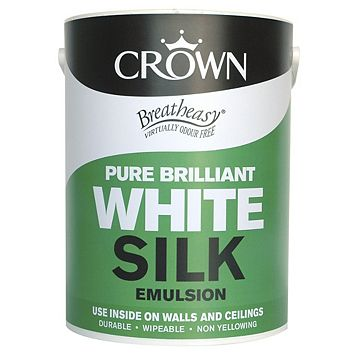 Crown Breatheasy® Brilliant White Silk Emulsion Paint 5L