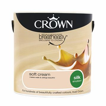 Crown Breatheasy® Soft Cream Silk Emulsion Paint 2.5L