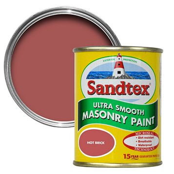 Sandtex Hot Brick Red Smooth Masonry Paint 150ml Tester Pot