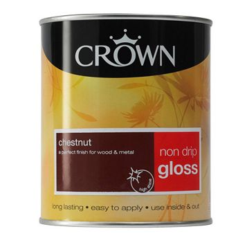 Crown Non Drip Gloss Paint Chestnut, 750ml