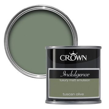Crown Indulgence Tuscan Olive Matt Emulsion Paint 125ml Tester Pot