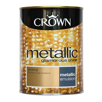 Crown Metallic Effect Emulsion Paint Striking, 1.25L
