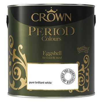 Crown Pure Brilliant White Eggshell Paint 2.5L