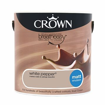 Crown Neutrals White Pepper Matt Emulsion Paint 2.5L