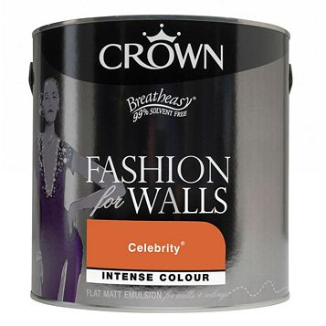 Crown Flat Matt Emulsion Paint Celebrity Orange, 2.5L