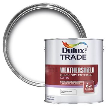 Dulux Trade Exterior Pure Brilliant White Satin Wood & Metal Paint 2.5L