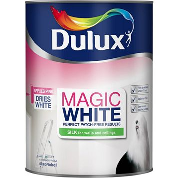 Dulux Magic Pure Brilliant White Silk Emulsion Paint 5L
