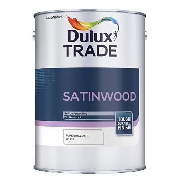 Dulux Trade Internal Brilliant White Satinwood Paint 1L