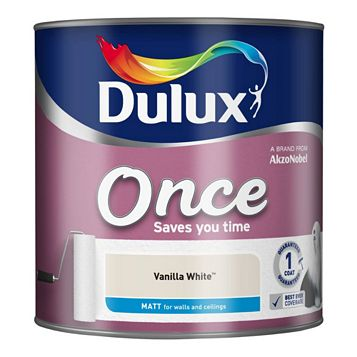 Dulux Once Vanilla White Matt Emulsion Paint 2.5L