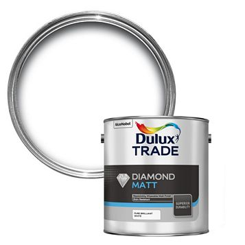 Dulux Trade Diamond Pure Brilliant White Matt Emulsion Paint 2.5L