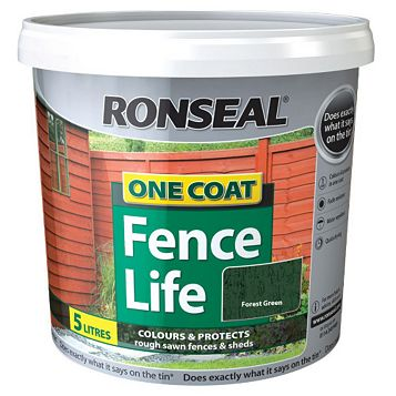 Ronseal One Coat Fence Life Forest Green Shed & Fence Stain 5L
