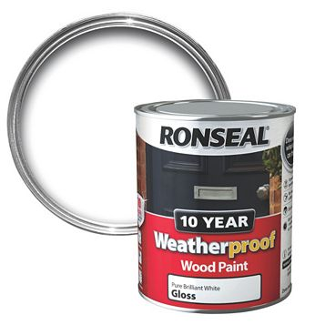 Ronseal Exterior Pure Brilliant White Gloss Wood Paint 750ml