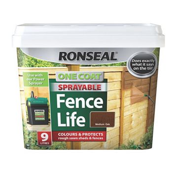 Ronseal Shed & Fence Stain With Preserver Medium Oak, 9L