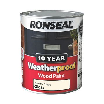 Ronseal Weatherproof 10 Year External Country Cotton Gloss Wood Paint 750ml